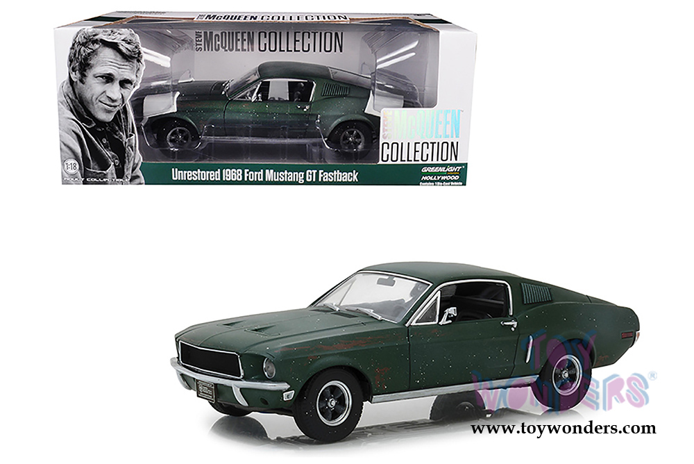 Greenlight Hollywood - Steve McQueen Unrestored Ford Mustang GT 2018  Detroit Auto Show (1968, 1/18 scale diecast model car, Green) 13523