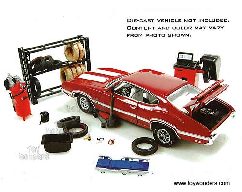 1 24 Scale Garage Accessories http://www.toywonders.com/ProductCart/pc/Phoenix-Garage-Diorama-Accessory-Set-Repair-Tire-Shop-Series-1-24-Scale-18422-95p12435.htm