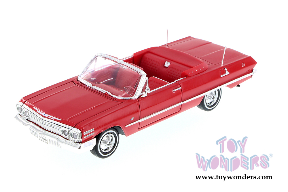 1963 Chevy Impala Convertible Blue Welly 22434 1//24 Scale Diecast
