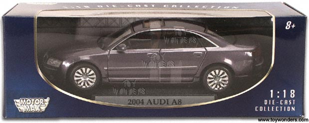 Charmant Motormax   Audi A8 Hard Top (2004, 1/18 Scale Diecast Model Car, Blue) 73149