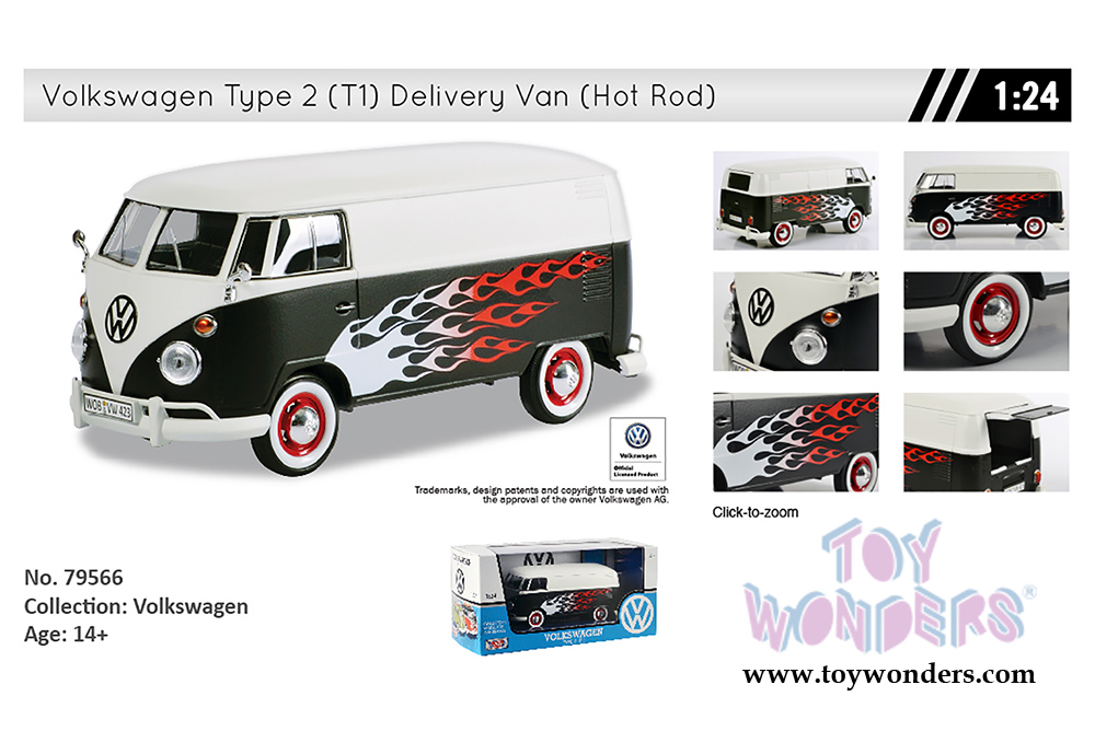 Volkswagen Type 2 T1 Delivery Van Hot Rod By Motormax 1 24 Scale Cast Model Car Whole 79566w