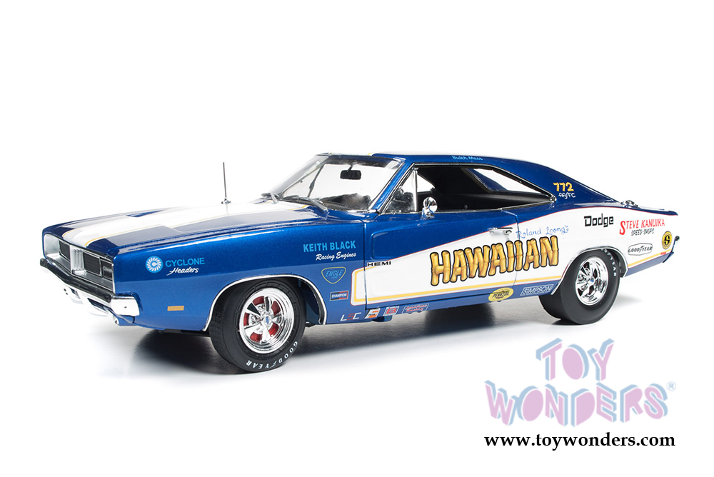 Auto World - Racing Dreams | Dodge Charger Hawaiian NHRA Funny Car (1969,  1/18 scale diecast model car, Blue w/ White stripes) AW231