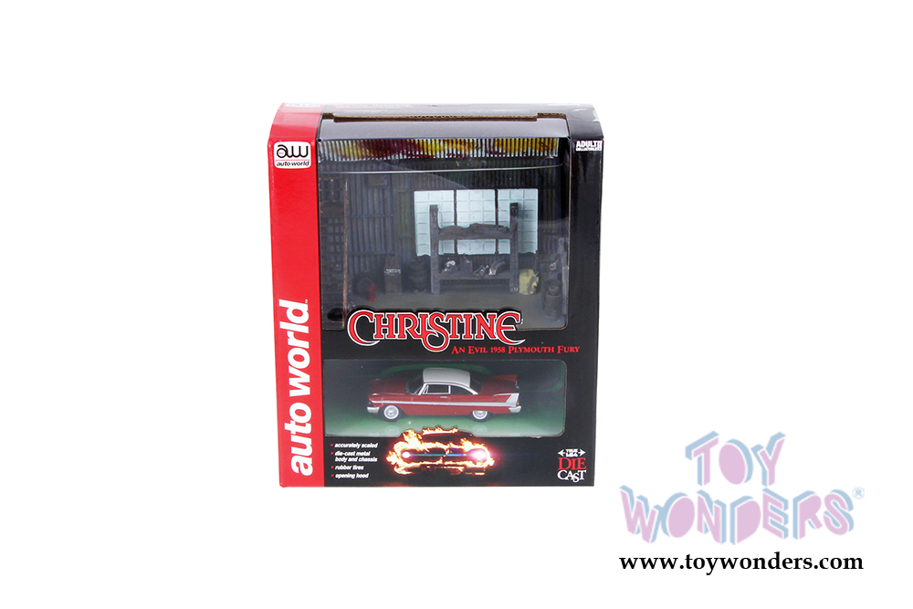 Auto World Silver Screen Machines - Diorama Christine's Plymouth Fury car  with
