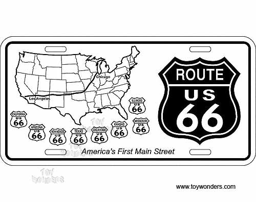 Plate Route 66 Shields w US Map Sign SLR6S