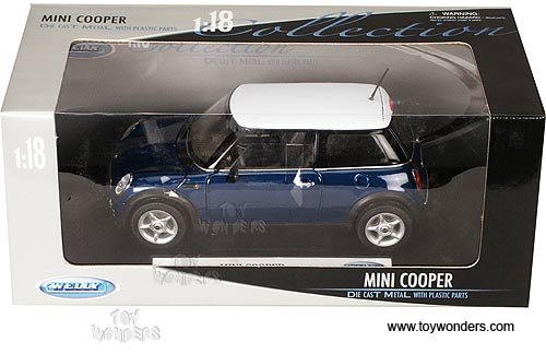 Diecast Collector Model Cars Welly Mini Cooper 1 18 Blue 19851
