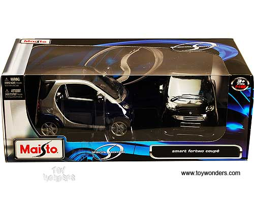 Maisto Special Edition Smart 1:18 Toy Car 1+1 Black /& Blue//Silver DAMAGED BOX