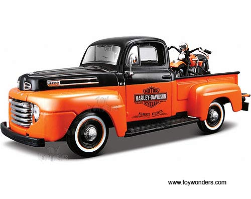 1948 ford f 1 pickup truck harley davidson fl panhead motorcycle 32171bo 1 24 scale maisto hd. Black Bedroom Furniture Sets. Home Design Ideas