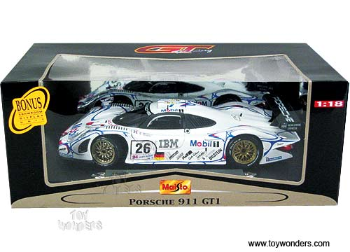 maisto porsche 911 le mans gt1 1998 1 18 white 38864. Black Bedroom Furniture Sets. Home Design Ideas