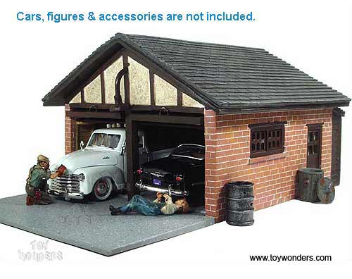 American diorama buildings double garage building 1 24 for Construction garage double