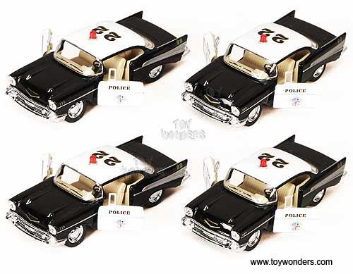 Kinsmart Chevrolet Bel Air Police 1957 140 Black White 5323d