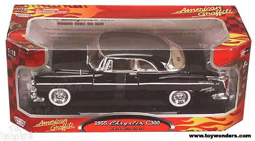Motormax American Graffiti - Chrysler C300 (1955, 1/18 scale diecast model car, Black) 73160AG