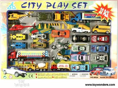 Toy Diecast City Vehicle Play Set 8836 32 Pcs Wholesale
