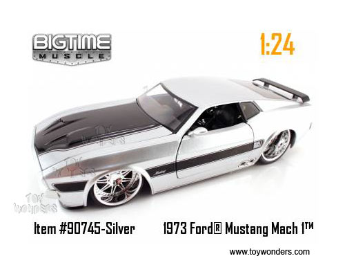 1973 FORD MUSTANG MACH 1 1:24 JADA BIG TIME MUSCLE DIECAST MODEL CAR Blue Silver