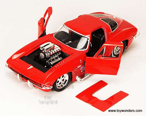 WOW EXTREMELY RARE Chevrolet Corvette Sting Ray 1963 Red met w// Blower 1:18 Jada