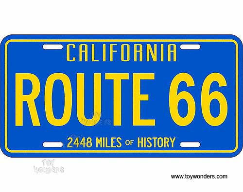 license plate route 66 california 2448 miles of history blue sign slrca. Black Bedroom Furniture Sets. Home Design Ideas