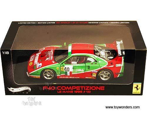FERRARI F40 LE MANS 1995 #40 COMPETIZIONE  ELITE MODEL CAR 1//18 HOTWHEELS V7427