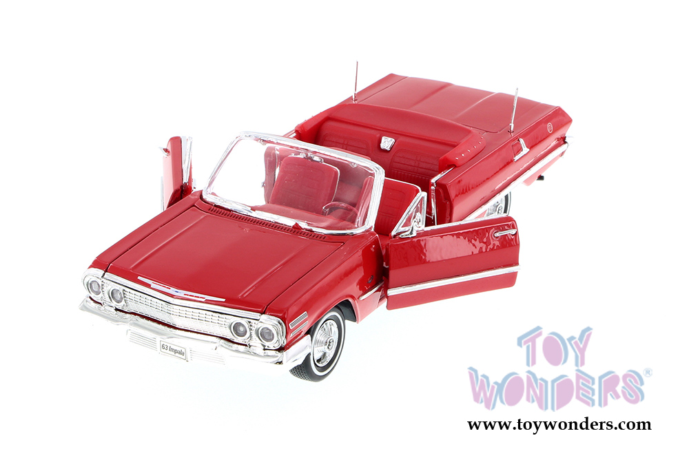 1963 CHEVROLET IMPALA CONVERTIBLE BLACK 1//24 SCALE DIECAST CAR MODEL WELLY 22434