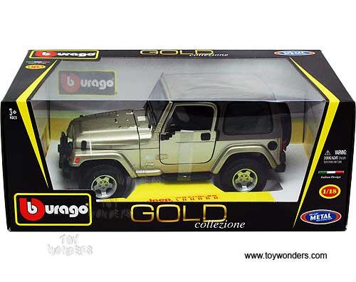 bburago gold - jeep wrangler sahara hard top (1/18 scale diecast
