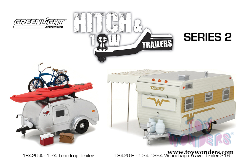 Greenlight - Hitch & Tow Trailers Series 2 | Ken Skill Tear Drop Trailer  with Accessories (1947, 1/24 scale diecast model car, Silver) 18420A/12