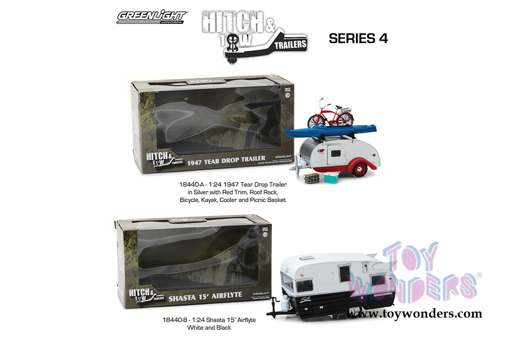 Greenlight - Hitch & Tow Trailers Series 4 | Shasta 15 ft  Airflyte Camper  Trailer (1/24 scale diecast model car, Black/White) 18440B/12