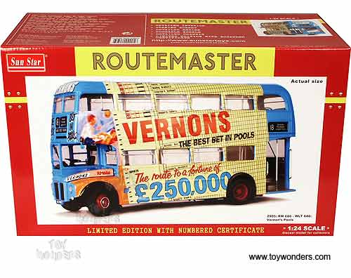 Sun Star - Routemaster Bus RM 686 - WLT 686 Vernon's Pools (1958, 1/24  scale diecast model car, Blue) 2905