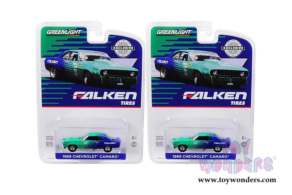 Greenlight 1:64 1969 Chevrolet Camaro Falken Tires # 88 Diecast Blue Green 29959