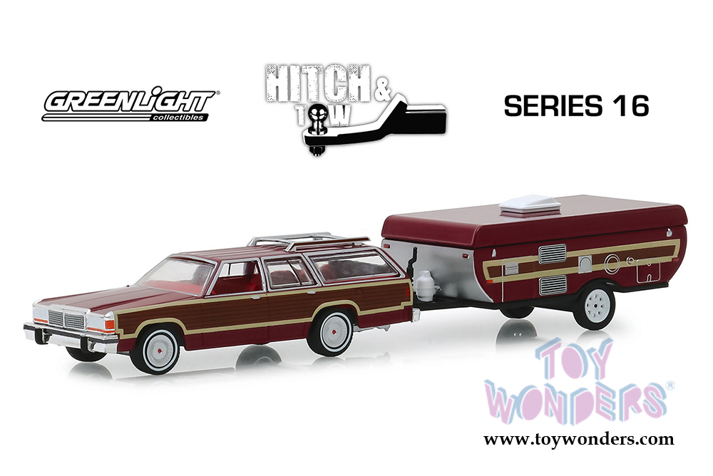 Greenlight - Hitch & Tow Series 16   Ford LTD Country Squire and Pop-Up  Camper Trailer (1981, 1/64 scale diecast model car, Dark Red) 32160C/24