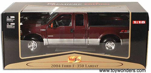 Maisto - Ford F-350 Lariat Pick-up Truck (2004, 1/18 scale diecast model  car, Red) 36689