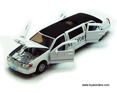 Kinsmart 1999 Lincoln Town Car Stretch Limousine Limo 1:38 Diecast Model White