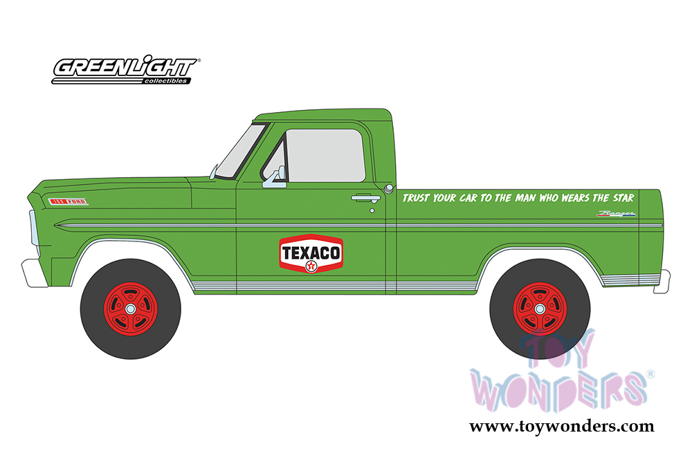 ca6b8d364b46 Greenlight - Running on Empty Series 1 | Texaco Oil Ford F-100 Pick Up  Truck (1967, 1/24 scale diecast model car, Green) 85012