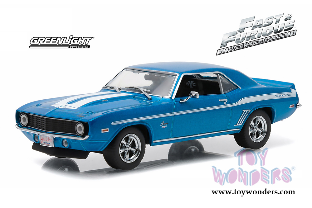 Greenlight Fast & Furious - Brian's Chevrolet Yenko Camaro Hard Top (1969,  1/43 scale diecast model car, Blue) 86200