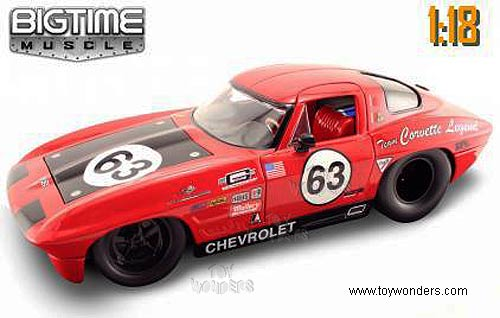 Jada Toys Bigtime Muscle - Chevrolet Corvette Stingray Hard Top (1963, 1/18  scale diecast model car, Red) 90327