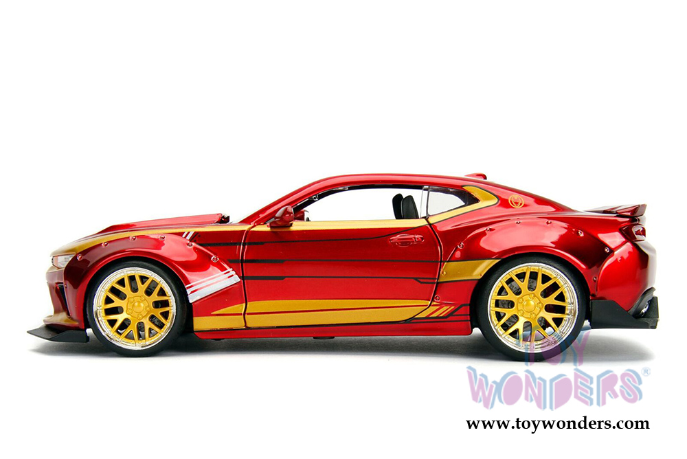 "2016 CHEVROLET CAMARO SS W// IRON MAN FIGURE /""MARVEL/"" 1//24 DIECAST BY JADA 99724"